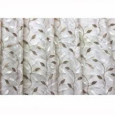 ivory leaves embroidered sheer curtain fabric by fabricmart