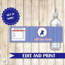polo baby shower decorations polo water bottle label blue stripes baby boy shower kids