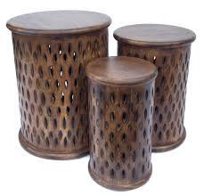 beautiful brown white round hand carved indian wooden side coffee