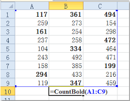 how to sum count bold numbers in a range of cells in excel