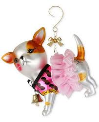betsey johnson ornament glass embellished chihuahua ornament