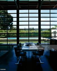 Glass Roll Up Garage Doors by Rollup Garage Doorstyle Windows In Dining And Kitchen Area Stock