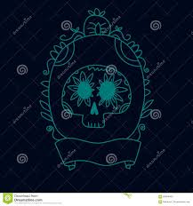 halloween invitation background doodle sugar skull in a frame blue halloween or dia de muertos