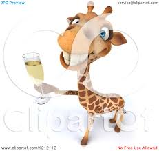 champagne toast cartoon clipart of a 3d happy giraffe toasting with champagne royalty