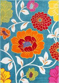 Modern Floral Rug Modern Rug Flowers Blue 5 X7 Floral Accent Area Rug Entry