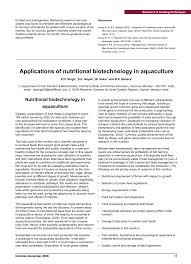 applications of nutritional biotechnology in aquaculture
