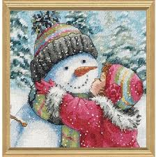 dimensions a for snowman cross stitch kit 70 08833