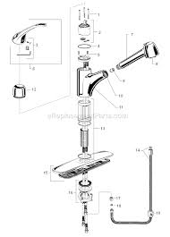 Pull Out Kitchen Faucet Parts American Standard 4205 104 F15 Parts List And Diagram