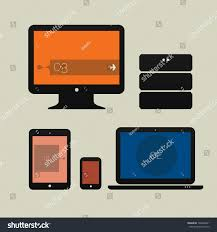 design pc monitor flat design ui device icons pc stock vector 146864201
