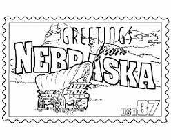 nebraska state stamp coloring page usa coloring pages