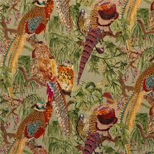 Upholstery Fabric With Birds Fd268 H46 Game Birds Velvet Fig Multi By Mulberry