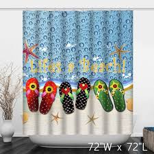 summer beach slipper sandals bathroom shower curtain custom
