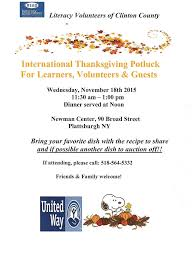 thanksgiving pot luck events literacy volunteers of clinton county