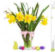bouquet of daffodils flowers with easter eggs stock photo image