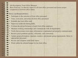 Duties Of Front Desk Officer by Ppt Front Office Organization Chart Powerpoint Presentation Id