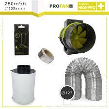 extracteur chambre de culture kit extracteur 280m3 h 43 filtre à charbon proactiv 125mm pas cher