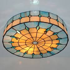 Stained Glass Ceiling Light Modern Style 3 Ls Drum Ceiling Light Vinage Simple