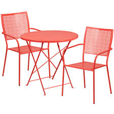 Folding Patio Table And Chair Set 30 Coral Indoor Outdoor Steel Folding Patio Table Set With