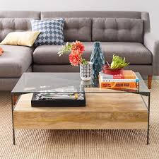 west elm industrial storage coffee table inspiring rustic glass coffee table glass topped industrial storage