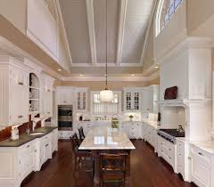 vaulted ceiling kitchen traditional with glass front cabinets