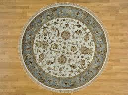 7 u0027 x 7 u0027 round ivory wool and silk rajasthan hand knotted oriental