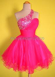 h02 pink one shoulder crystals beads short mini pageant ball