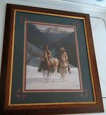 home interior framed framed western print of two cowboys made for home interior by gary