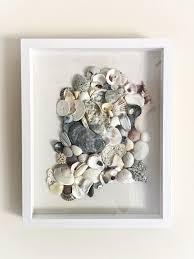 unique seashell collage art sea shell home decor beach