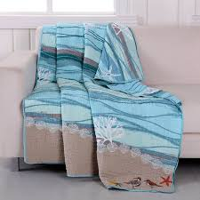 Nautical Quilt Amazon Com Greenland Home Maui Quilted Throw Home U0026 Kitchen