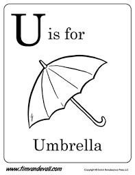 umbrella letter coloring pdf