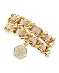 gold chain leather bracelet images Tory burch woven leather chain wrap bracelet light oak golden jpg