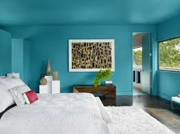 turquoise color design for bedroom wall combined with rectangle