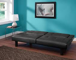 furniture contrast piping tufted faux leather futon sofa in black