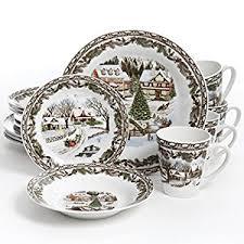 christmas dinnerware gibson home christmas toile 16 dinnerware set