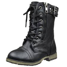 ladies lace up biker boots kids mid calf boots buckle accent lace up combat boots black
