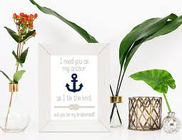 will you be my bridesmaid card navy and tan nautical