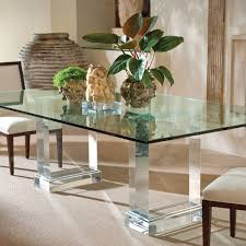 rectangular glass top dining room tables two glass legs combined with rectangle glass top and white chairs