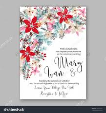 Invitation Card For Christmas Wedding Invitation Card Template With Winter Bridal Bouquet