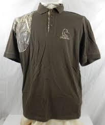 ducks unlimited white water shooting polo shirt mens l brown