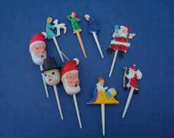 Christmas Cake Decorations Plastic by Plastic Christmas Etsy