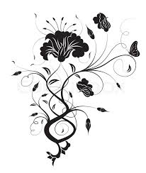 abstract flower with butterfly element for design vector