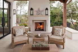 outdoor living spaces with fireplace porch contemporary with