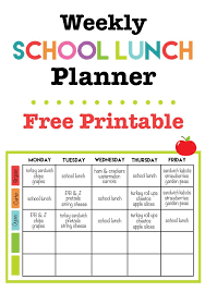 lunch box planner template weekly school lunch printable school lunch menu lunch menu and