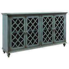 Cabinet Accents Lattice Glass Door Accent Cabinet In Antique Teal Finish By