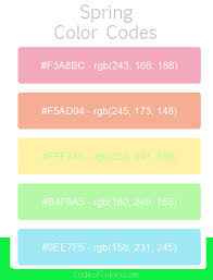 spring color spring color palette hex and rgb color codes