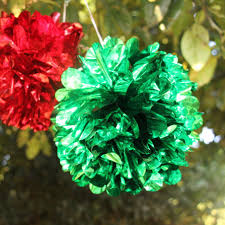 5pcs 8inch hanging tissue paper decor flower balls green red pom