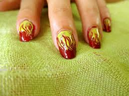 style small world easy and simple fiery nails art design