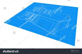 house blueprint drawing diagonal perspective angle stock vector