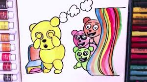 mega gummy bear playing hide and seek coloring pages for children