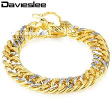 double gold bracelet images Davieslee mens silver gold bracelet chain hammered heavy curb jpg